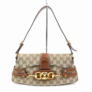 Auth Gucci Hand Bag Browns Canvas #629G30
